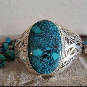 Genuine Turquoise Sterling Silver Bracelet